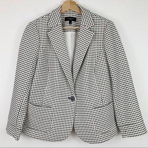 Talbots Gingham Blazer Lp Black White Check Jacket